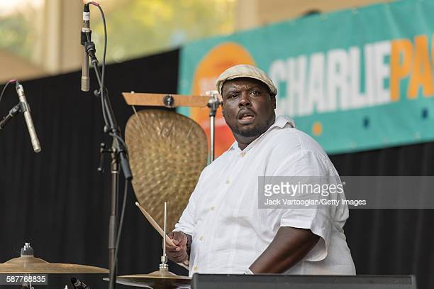 American musician Johnathan Blake plays drums with the Lonnie Smith Trio on the second day of the 23rd Annual Charlie Parker Jazz Festival at the...