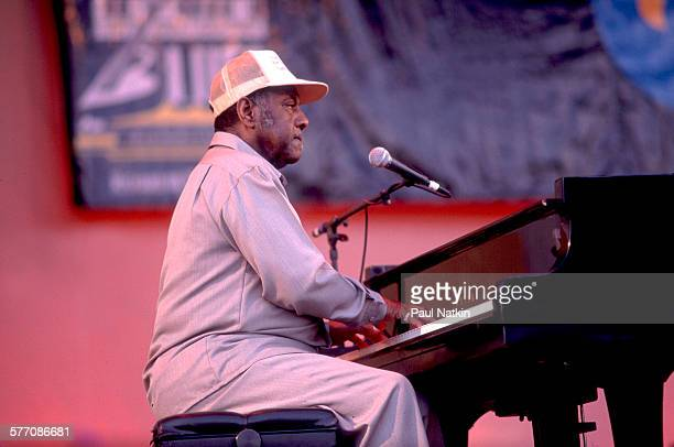 American musician Johnnie Johnson performs onstage at the Petrillo Band Shell during the Chicago BluesFest Chicago Illinois June 6 1992