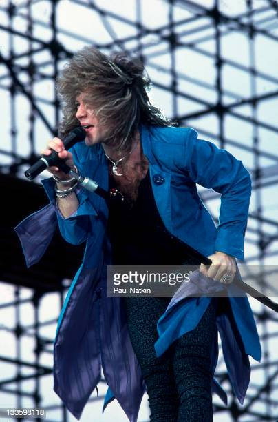 American musician Jon Bon Jovi performs at Memorial Stadium for the Farm Aid Concert Champaign Illinois September 22 1985