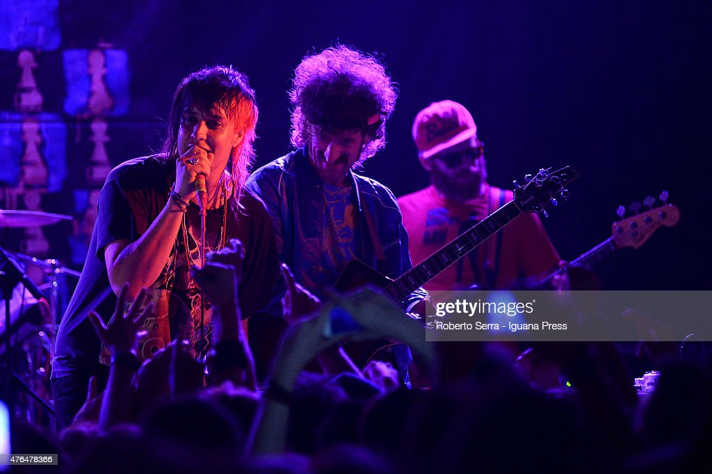 American musician Julian Casablancas (L) and guitarist Jeramy 'Beardo' Gritter (C) and Jacob 'Jake' Bercovici (R) of The Voidz perform in concert at Bolognetti Rock on June 9, 2015 in Bologna, Italy.