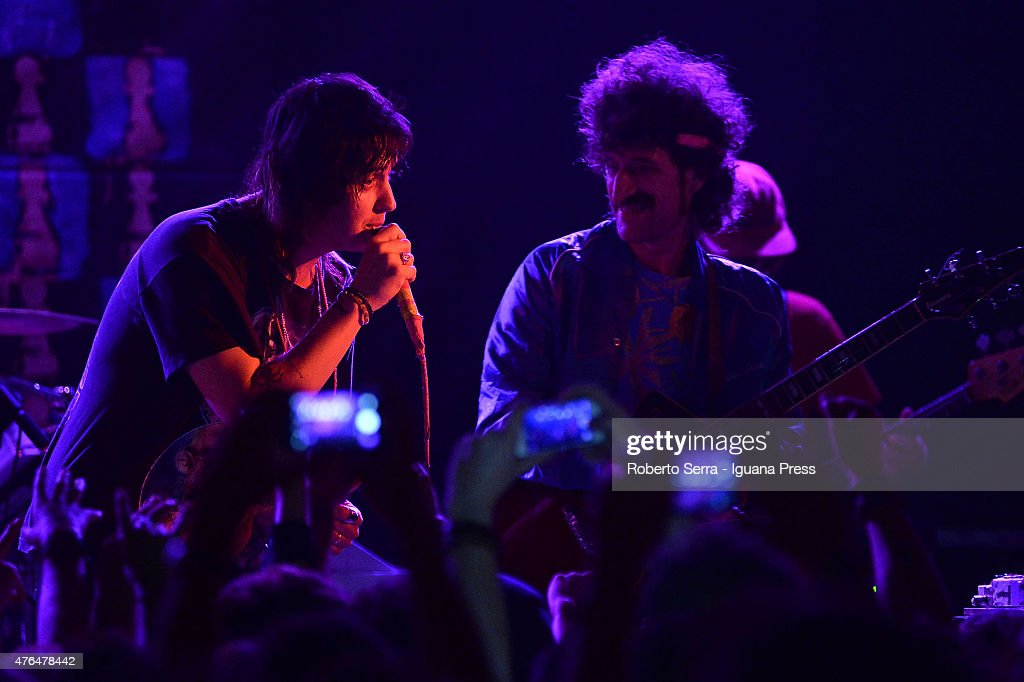 American musician Julian Casablancas (L) and guitarist Jeramy 'Beardo' Gritter (R) ofThe Voidz perform in concert at Bolognetti Rock on June 9, 2015 in Bologna, Italy.