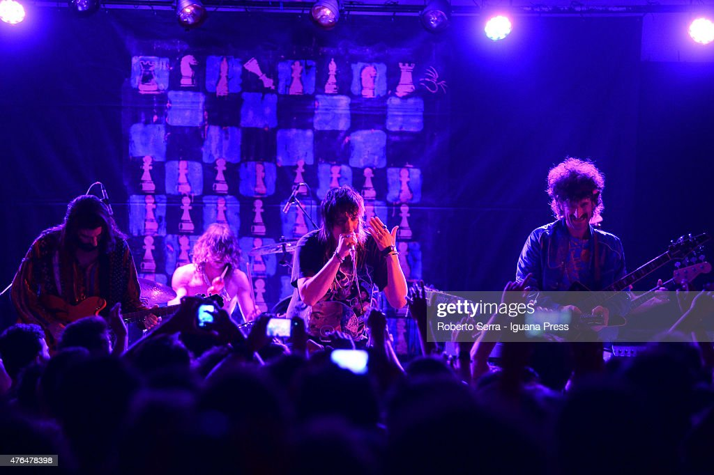 American musician Julian Casablancas (C) performs with The Voidz (L-R) Amir Yaghmai and Alex Carapetis and Jeramy 'Beardo' Gritter in concert at Bolognetti Rock on June 9, 2015 in Bologna, Italy.
