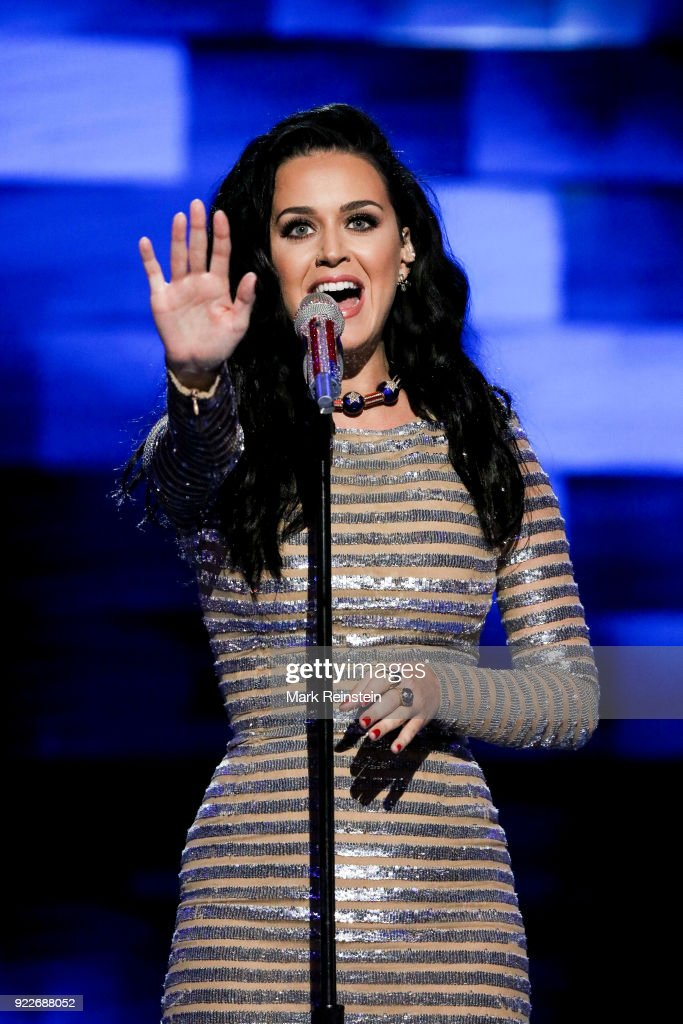 American musician Katy Perry performs on stage on the final day of the Democratic National Convention at the Wells Fargo Center, Philadelphia, Pennsylvania, July 28, 2016.