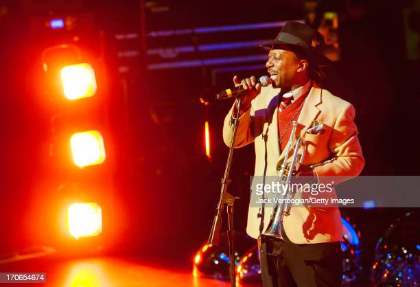 American musician Kermit Ruffins plays trumpet during a performance at the Red Hot + New Orleans concert, in recognition of World AIDS Day, at the...