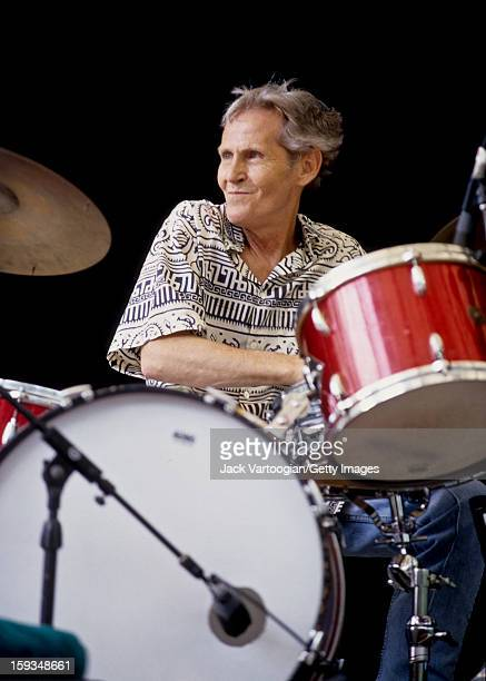 American musician Levon Helm plays drums on Central Park's SummerStage New York New York June 17 2000