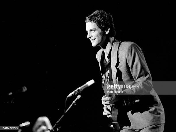 American musician Lindsey Buckingham of the group Fleetwood Mac performs onstage at the Los Angeles Forum Inglewood California December 6 1979