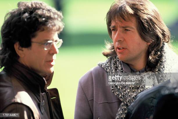 American musician Lou Reed and English musician Peter Gabriel attend backstage a concert held at Wembley Stadium to celebrate the release of African...