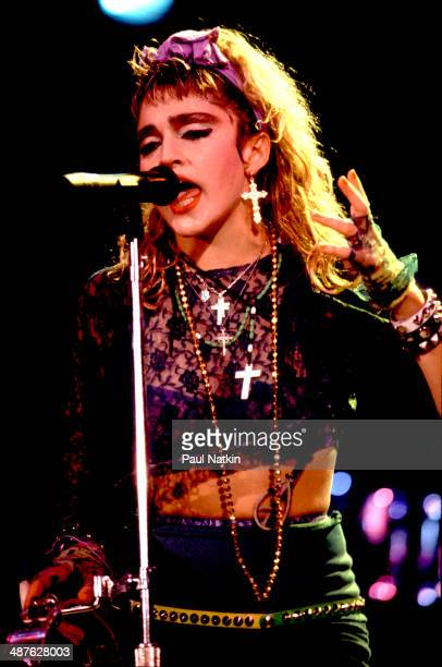 American musician Madonna performs onstage at the University of Illinois Pavilion Chicago Illinois May 18 1985