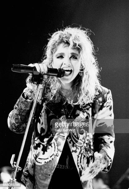 American musician Madonna performs onstage during 'The Virgin Tour' at Madison Square Garden New York New York June 10 1985