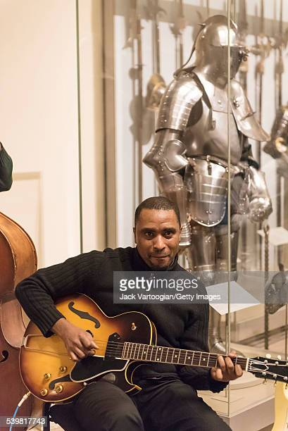 American musician Marvin Sewell plays guitar as he leads his group as they perform at 'Jazz and Colors at the Met the Masterworks Edition' in the...
