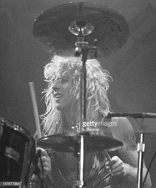 American musician Matt Sorum of the group Guns 'n' Roses performs in concert at the Ritz New York New York February 2 1988