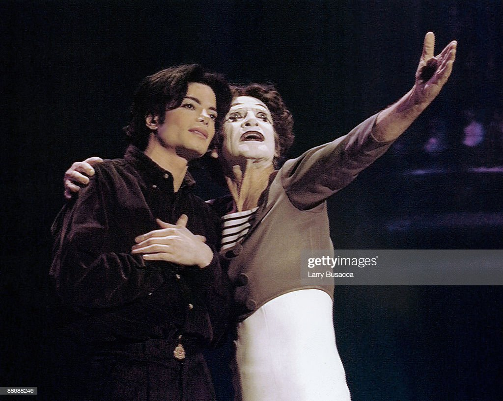 American musician Michael Jackson and French mime and actor Marcel Marceau perform onstage at the 12th Annual MTV Video Music Awards at Radio City...