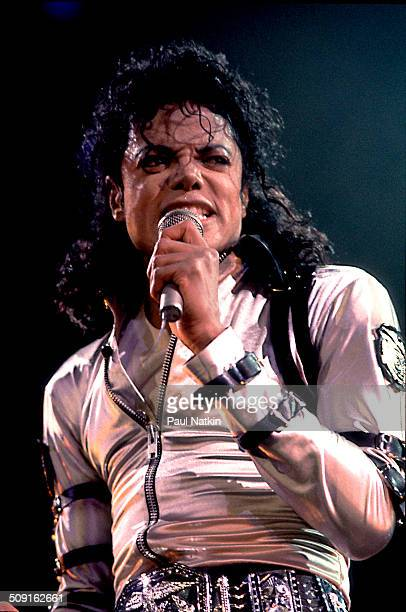American musician Michael Jackson performs onstage at the Rosemont Horizon during his 'BAD' tour Rosemont Illinois April 19 1988