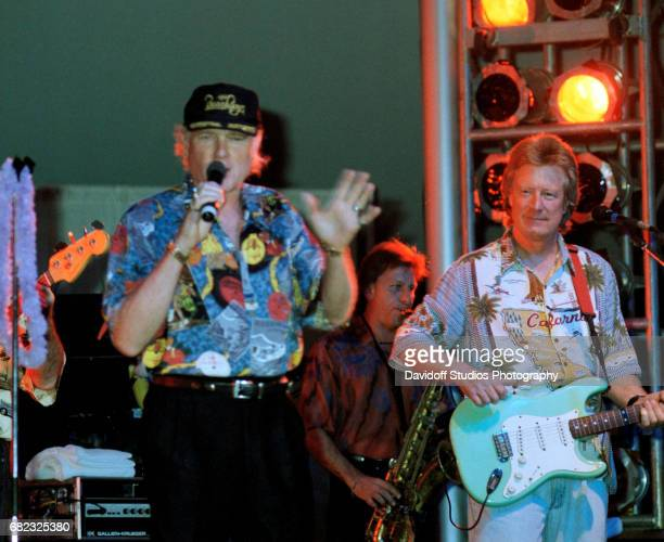American musician Mike Love of the Beach Boys and guest musician Dean Torrence from the group Jan and Dean perform onstage at the MaraLago club Palm...