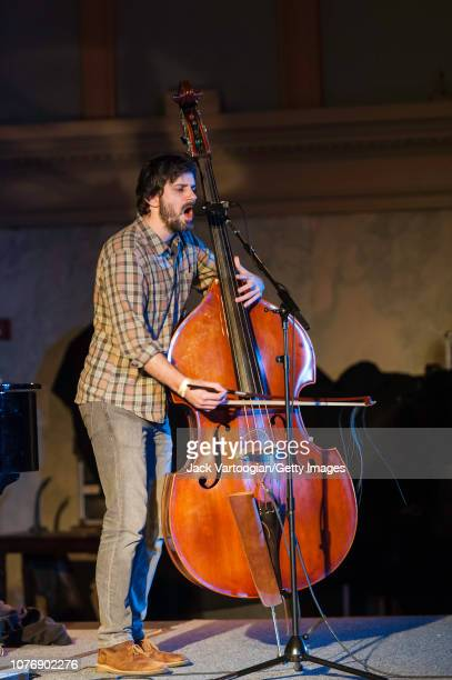 American musician Nat Baldwin plays upright acoustic bass as he performs during the 10th anniversary NYC Winter JazzFest at Judson Church, Greenwich...