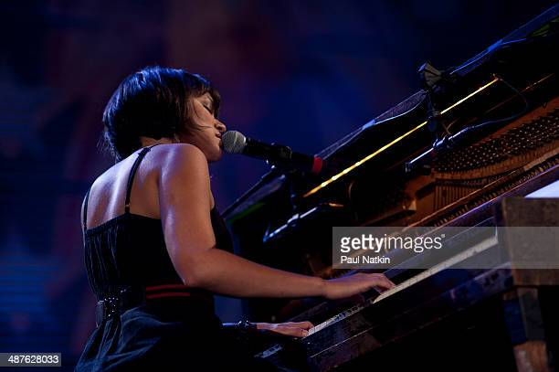 American musician Norah Jones performs onstage during the Farm Aid 25th Anniversary Concert at Miller Park, Milwaukee, Wisconsin, October 2, 2010.