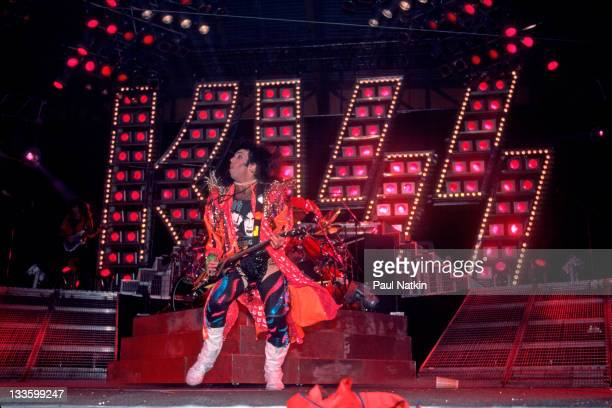 American musician Paul Stanley of the group Kiss performs at the UIC Pavillion Chicago Illinois January 10 1986