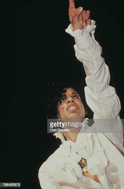 American musician Prince performing at Nassau Coliseum Uniondale New York on the Purple Rain Tour March 1985