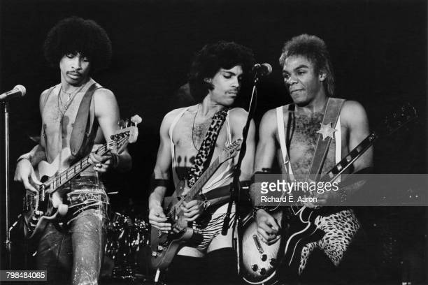 American musician Prince performing with André Cymone and Dez Dickerson on the Dirty Mind Tour USA 1981