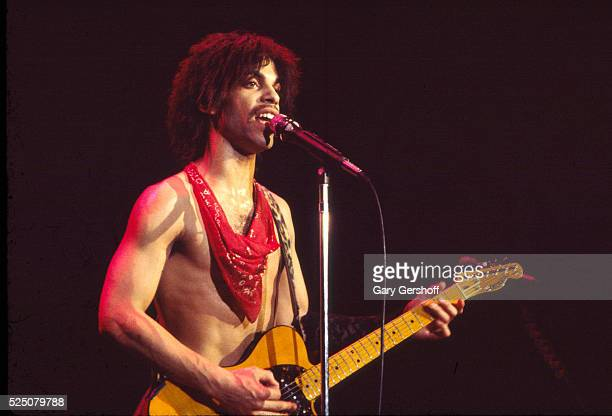 American musician Prince plays guitar as he performs onstage at the Ritz during his 'Dirty Mind' tour New York New York March 22 1981