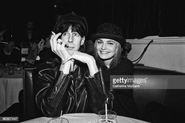 "American musician Ric Ocasek and Czech supermodel Paulina Porizkova pose for a photo at the party for the premiere of John Waters' film ""Cry-Baby"" on..."