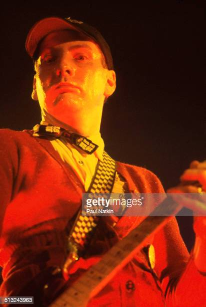American musician Rick Nielsen plays guitar as he performs with Cheap Trick at the Riviera Theater Chicago Illinois October 29 1977