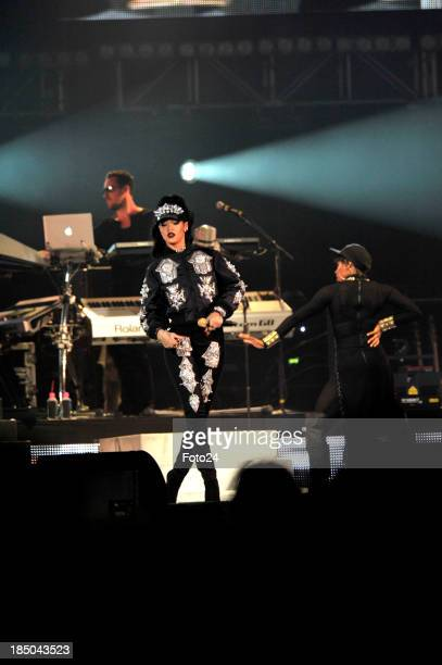 American musician Rihanna performs at the FNB Stadium on October 13 in Soweto South Africa Rihanna is currently on her Diamonds World Tour and will...