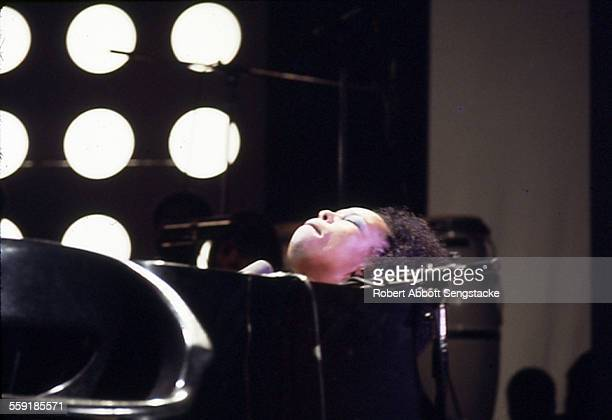 American musician Roberta Flack plays piano as she performs on stage at the International Ampitheatre as part of the Push Expo Chicago Illinois on...