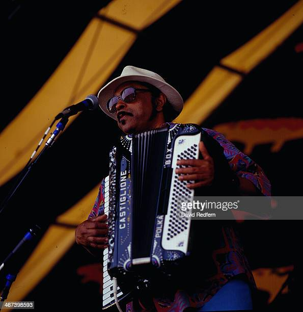 American musician Rockin' Sidney on stage at New Orleans Jazz Festival, circa 1995.