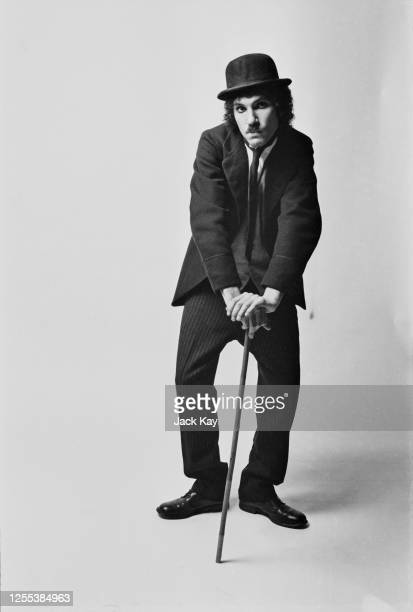 American musician Ron Mael of Sparks dressed as Charlie Chaplin's 'Tramp' character 1972