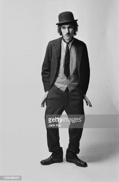 American musician Ron Mael, of Sparks, dressed as Charlie Chaplin's 'Tramp' character, 1972.