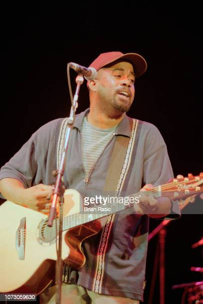 American musician singer and guitarist Darius Rucker performs live on stage with rock group Hootie the Blowfish at a venue in London in May 1995