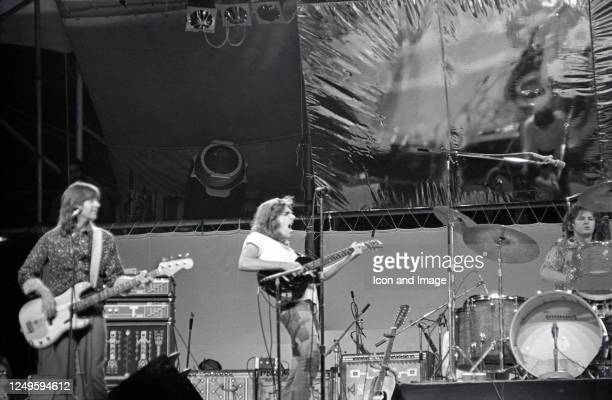 American musician, singer and songwriter Randy Meisner, American guitarist, singer, songwriter and actor Glenn Frey , and American drummer, singer...