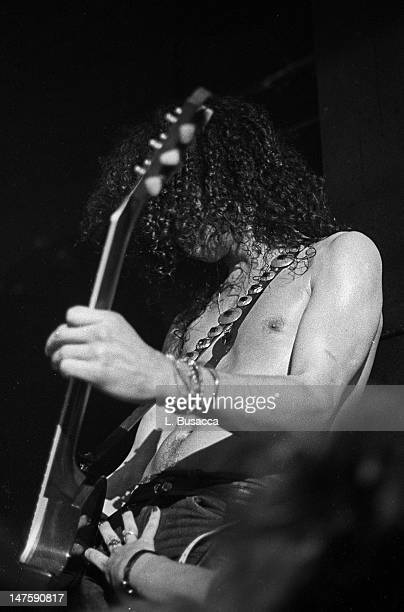 American musician Slash of the group Guns 'n' Roses performs in concert at the Ritz New York New York February 2 1988