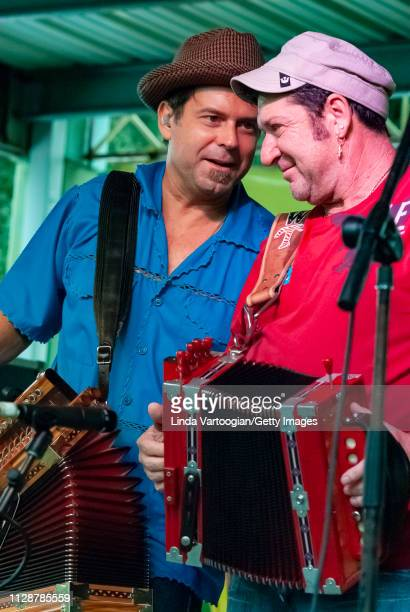 American musician Steve Riley plays accordion with his band the Mamou Playboys, and special guest Wayne Toups, on the My Louisiana Main Stage at the...