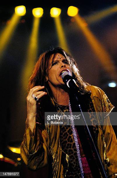 American musician Steven Tyler of the group Aerosmith performs at the Manhattan Theater Club New York New York March 18 1997