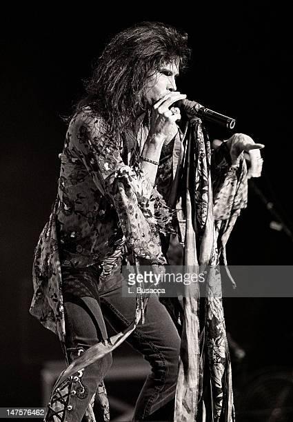 American musician Steven Tyler of the group Aerosmith performs New York New York circa 1989