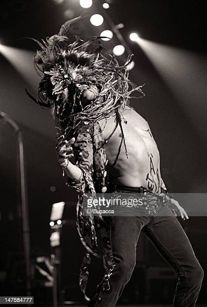 American musician Steven Tyler of the group Aerosmith performs New York New York circa 1989