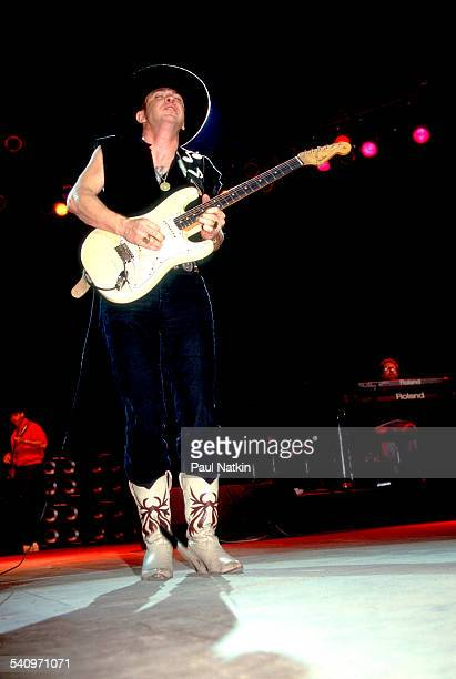 American musician Stevie Ray Vaughan plays guitar as he performs at the Saratoga Performing Arts Center, Saratoga, New York, September 1, 1988.