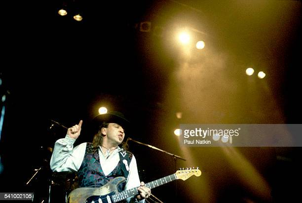 American musician Stevie Ray Vaughan plays guitar as he performs onstage at the Alpine Valley Music Theater East Troy Wisconsin August 25 1990