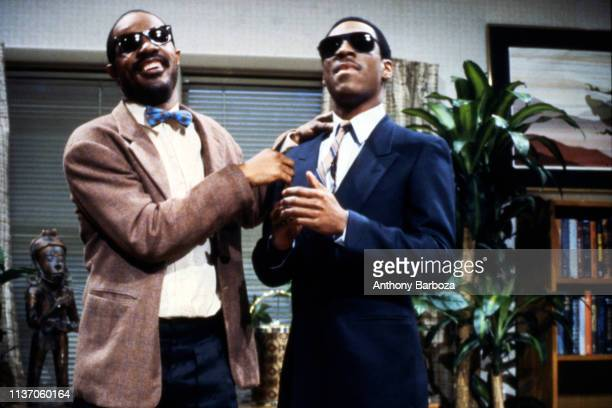American musician Stevie Wonder appears on an episode of 'Saturday Night Live' with comedian and actor Eddie Murphy New York New York 1983