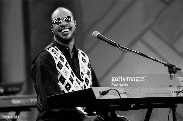 American musician Stevie Wonder performs on the 'Oprah Winfrey Show' Chicago Illinois June 9 1991
