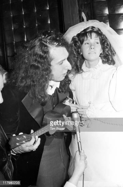 American musician Tiny Tim plays for his wife Miss Vicki May Budinger at their wedding reception New York December 1969