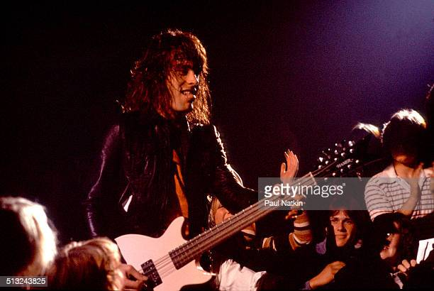 American musician Tom Petersson plays bass as he performs with Cheap Trick at the Riviera Theater Chicago Illinois October 29 1977