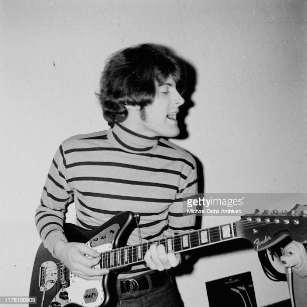 American musician Tommy James of the band Tommy James and the Shondells playing a Fender Jaguar in the Allegro Sound recording studio in New York...