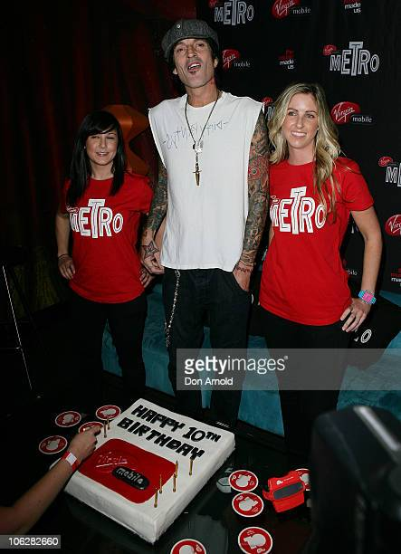 American Musician Tommy Lee arrives at Virgin Mobile's 10th birthday party at the Metro on October 28 2010 in Sydney Australia