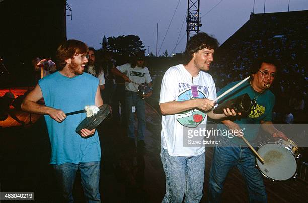 American musician Trey Anastasio of Phish performs with unidentified percussionsists at the HORDE Festival Wantagh New York July 12 1992 HORDE an...