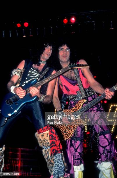 American musicians Bruce Kulick and Paul Stanley of the group Kiss perform at the Mecca Arena Milwaukee Wisconsin December 30 1984