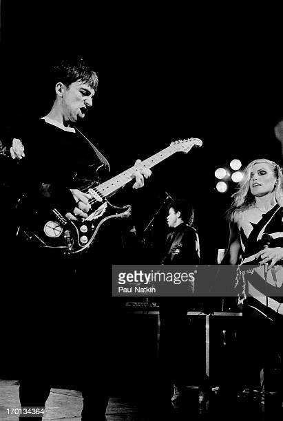 American musicians Chris Stein and Debbie Harry both of the rock group Blondie perform onstage at the Poplar Creek Music Theater Chicago Illinois...