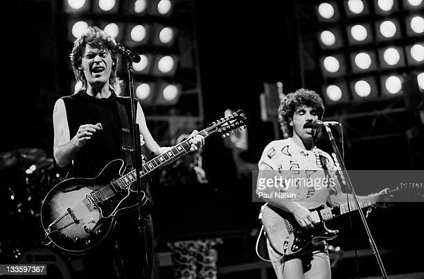 American musicians Darryl Hall and John Oates perform as Hall Oates at the Hartford Civic Center Hartford Connecticut November 1 1984
